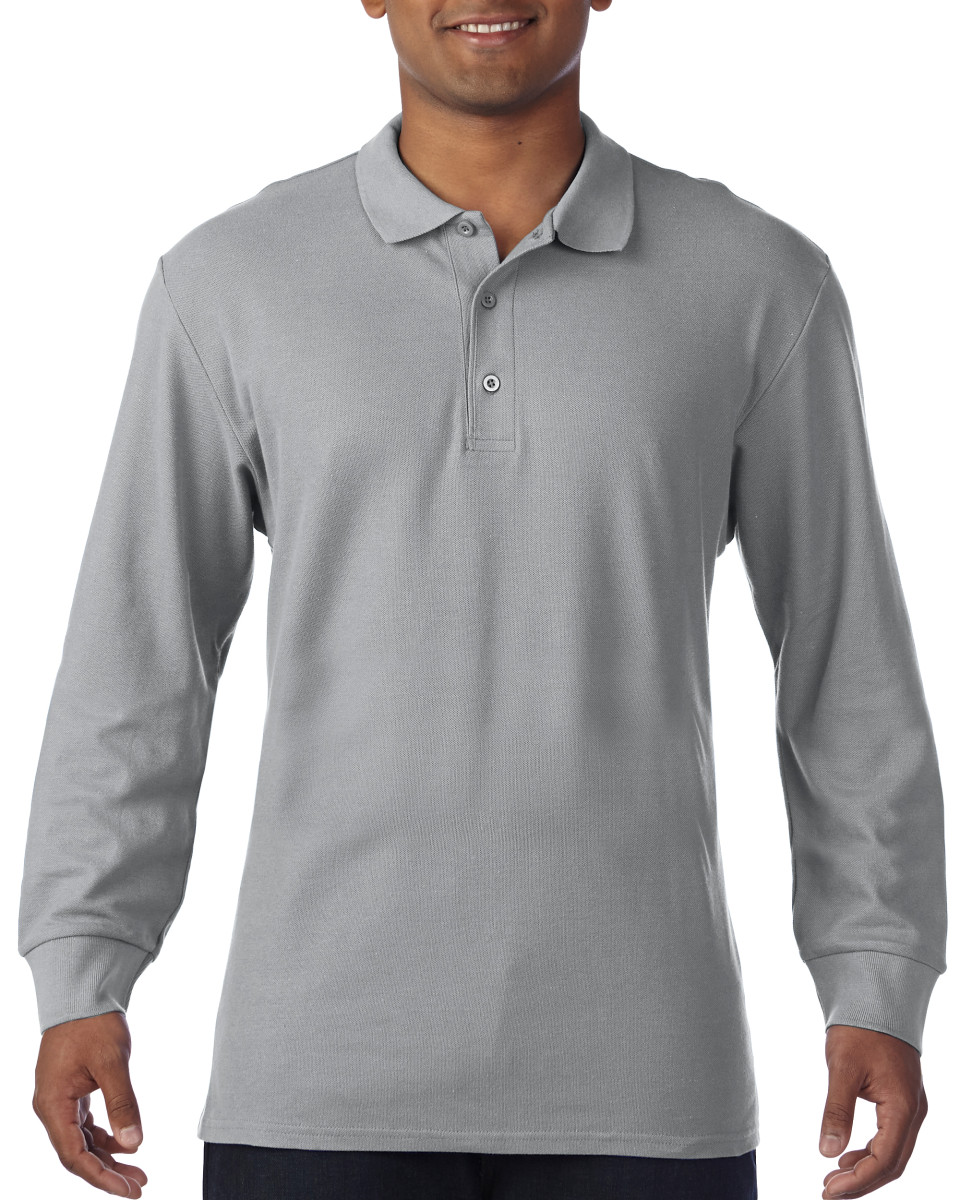 Gildan Premium Cotton Adult Long Sleeve Double Piqué Polo